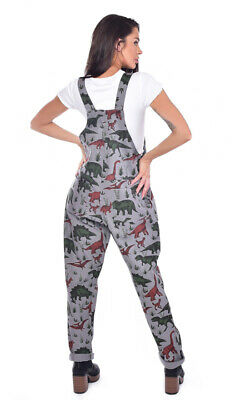 Run And Fly Adventure Dinosaur Grey Stretch Twill Baggy Dungarees Overalls 2