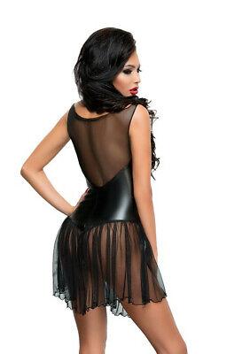Minikleid Negligee schwarz Damen Clubwear Gogo Partykleid Wetlook transparent 4