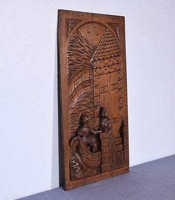 *Large French Antique Deeply Carved Panel Solid Oak with Man and Woman 3