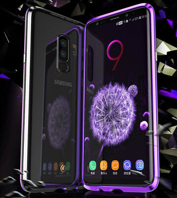 For Samsung Galaxy S8 S9 S10 Magnetic Adsorption Metal Case Tempered Glass Cover 8