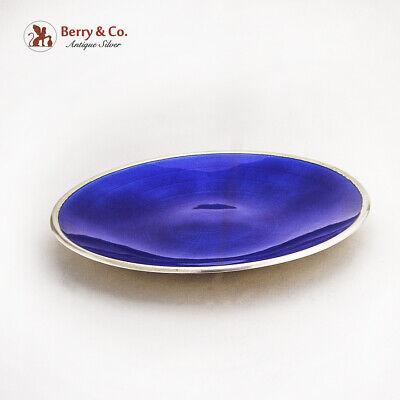 David Andersen Blue Guilloche Enamel Dish Plate Gilt Sterling Silver Norway 2