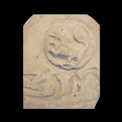 Early Islamic clay mould with lion in roundel and text. 2
