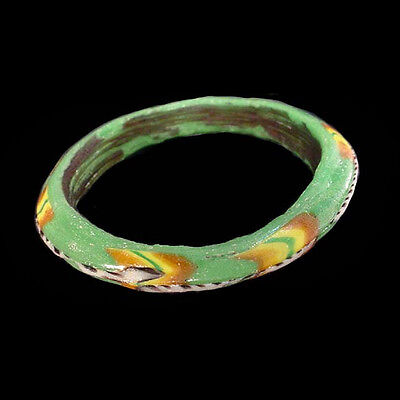 Roman to Islamic green, yellow, and orange glass paste votive bracelet a7282 2