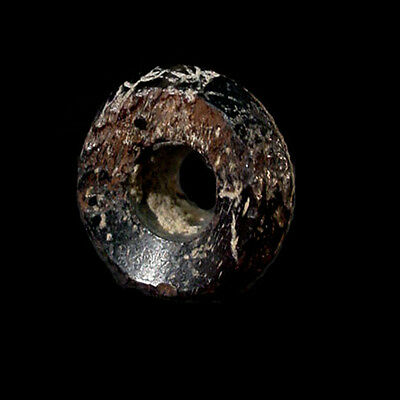 Islamic faceted circular black glass bead. x8273 3