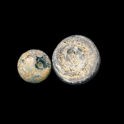 Pair of early Islamic glass gaming pieces. x3032 2