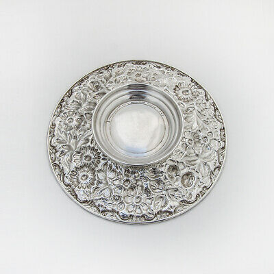 Repousse Floral Footed Plate Jenkins Jenkins Sterling 1915 Mono 2