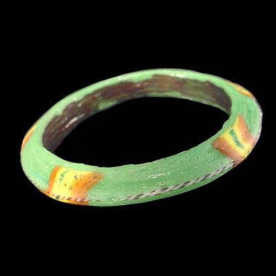 Roman to Islamic green, yellow, and orange glass paste votive bracelet a7282 3