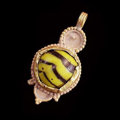 Islamic Glass set in modern 15ct gold as pendant. x5741 2