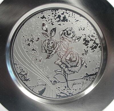 AMC Jahresteller Teller Edelstahl 1981 Metallkünstler Manfred Jung Motiv Flora