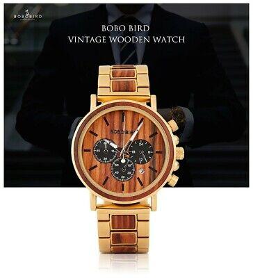BOBO BIRD WOOD DESIGNER WATCH Men Japan Quartz 44mm Top Brand Luxury Chronograph 2