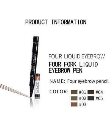 Microblading Tattoo Eyebrow 3D liquid Ink Pen waterproof 4 fork pencil brow UK 7
