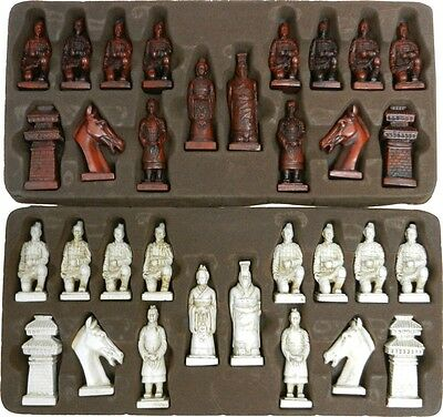 Oriental Style Chess Set-Chinese Warriors Pieces in Red Deluxe Case (CH-L02R)