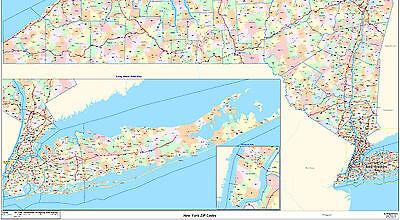New York State Zipcode Laminated Wall Map 180 00 Picclick