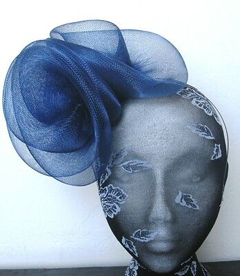 navy blue feather fascinator millinery burlesque headband wedding hat hair 3