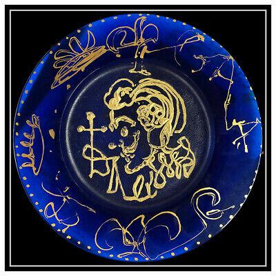 Salvador Dali Daum Azul Pate de Verre Placa Firmado Triomphale Surrealista Obra 2