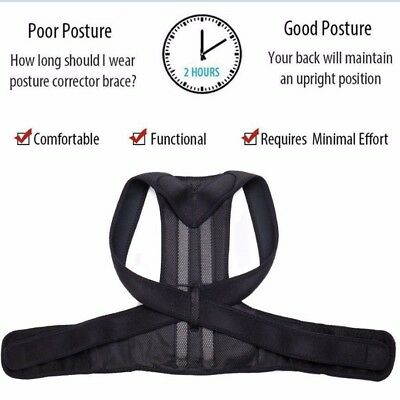 Unisex Posture Corrector Lumbar Lower Back Support Shoulder Brace Pain Magnetic 10
