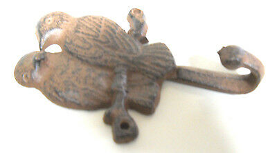 3 Cast Iron GARDEN BLUE BIRDS Coat Hooks Hook Rack Towel DOVES BIRD 1 HOOK 2