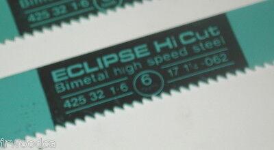 2 NOS Eclipse UK HI CUT BIMETAL HSS 6 TPI 17 x 1-1//4 POWER HACKSAW BLADE AA364J