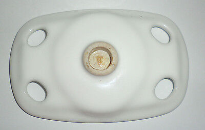 Antique Vintage White Porcelain Toothbrush & Cup Holder Unmarked No Hardware 4