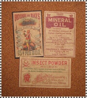 13 POISON VINTAGE LOOK VICTORIAN APOTHECARY LABELS Halloween/Steampunk/Primitive 3