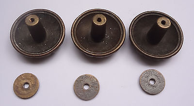 Lot 3 Vintage Solid Brass Pull handles Knobs 1 3/4'' + Backplates  Free Shipping 8