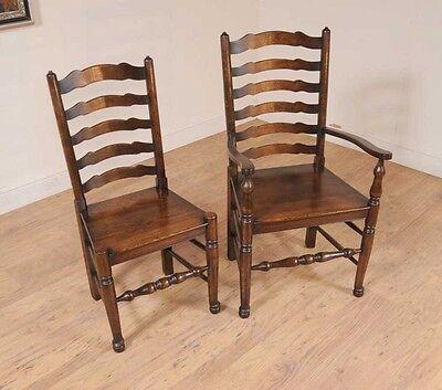 Set 8 Oak Ladderback Chairs Kitchen Dining Chair Farmhouse Furniture 3