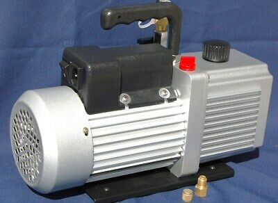 "Rotary Vane Vacuum Pump 12CFM 3/4HP 29""Hg HVAC Milker Machine Hookup+Check Valve 2"
