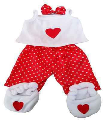 RED LOVE PJS pajamas Clothing Outfit by Stufflers – Will fit on a Build a bear