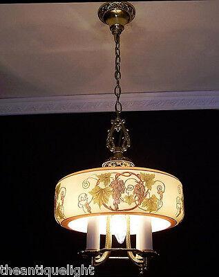 510 Vintage 30s 40s Ceiling Light lamp fixture art nouveau chandelier moe mfg 2