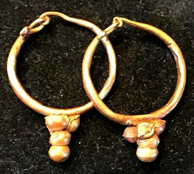 ANCIENT ROMAN-BYZANTINE PAIR OF HOOP GOLD EARRINGS w/ DECORATION! NICE!!! 4