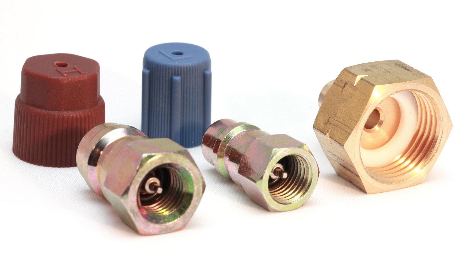 """Adapter Hochdruck 1//4/"""" SAE Umrüstsatz R12 auf R134a mit Flaschenadapter 1//4/"""" SAE"""
