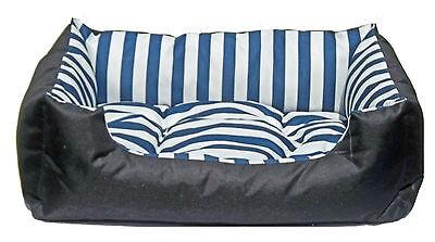 Hundebett Katzenbett Hundekorb Kuschelkissen Blue Stripe XL 100 x 80 x 18 cm 2