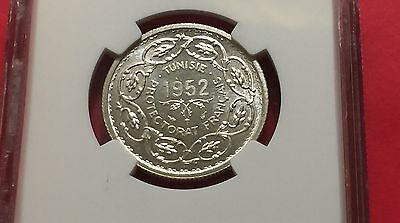 Tunisia Ah1372//1952 Silver 10 Francs Ngc Ms65 Extra Rare! Low Mintage! 6