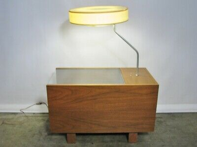 1950s George Nelson For Herman Miller Table Lamp With Glass Top & Single Drawer' 2