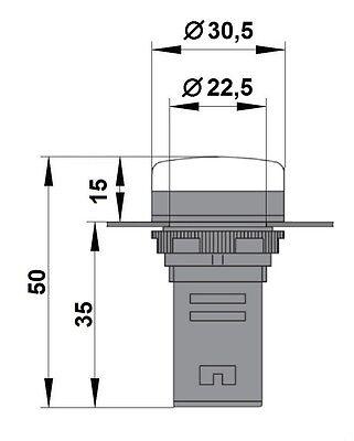 LED indicator (Pilot light) M22 AMPARO BLUE 24V AC/DC - BZ501212-B 2
