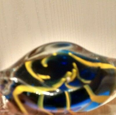 Hand Blown Art Glass Tropical Fish Paperweight Figurine, Blue w/Yellow Stripes 8