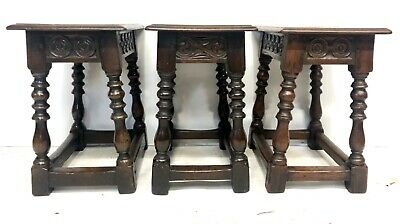 # Set 3 Antique Victorian Carved Oak Joint Stools Occasional Tables Lamp Stands 7