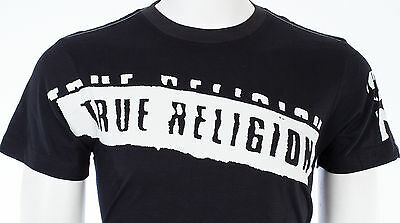 TRUE RELIGION Mens T-Shirt STENCEL GRAPHIC Black with White Print $69 Jeans NWT 7