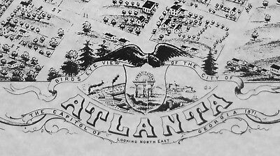 Historic Map Atlanta Georgia 1871 by A. RUGER Post Civil War AERIAL VIEW nice 2