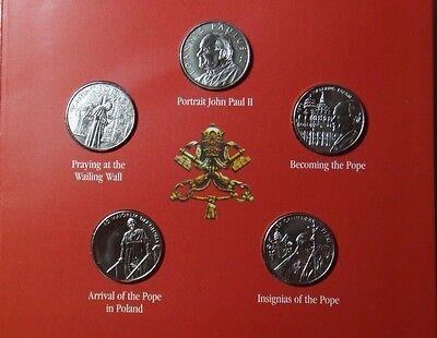 MALTA ORDER OF SET OF 5 DIFFERENT COINS 1 LIRA 2005 POPE JOHN PAUL II BU