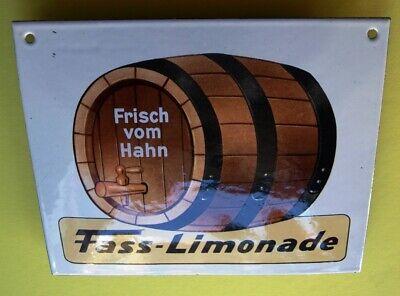 FASS LIMONADE Altes Emailschild ~ 1970 TRAUMZUSTAND Zapfhahn Brauerei Brause RAR 9