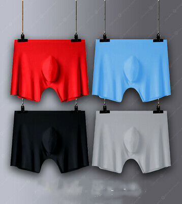 Men's Ice Silk Seamless Breathable Comfy Boxers Underwear Bulge Briefs Shorts 12