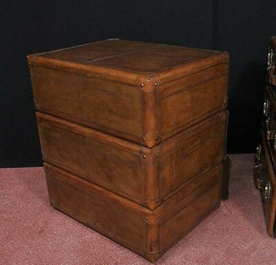 Pair English Leather Campaign Bedside Chests Nightstands Furniture 5