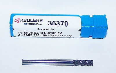 """KYOCERA SGS 4 FLUTE Z-CARB ENDMILL FOR STEELS AND STAINLESS 36858 .5000/"""" 1//2/"""""""