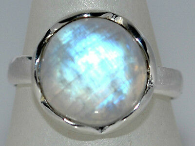 Mystic Moonstone Natural Gemstone Rings 925 Sterling Silver Ring All Sizes L - Z 10