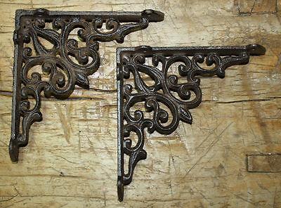 2 Cast Iron Antique Style HEART Brackets, Garden Braces RUSTIC Shelf Bracket