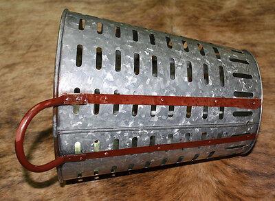 "Galvanized Rustic Antique Style Metal OLIVE BUCKET Home Decor Harvest Basket 13"""