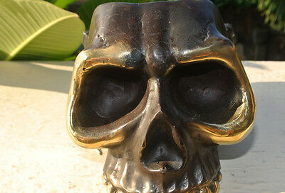 "SKULL head ash tray solid BRASS vintage style collect 6"" new day of the dead B 5"