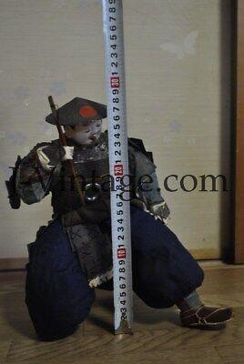 Antique Japanese Happy SAMURAI Doll with Armor YOROI KABUTO Helmet 4