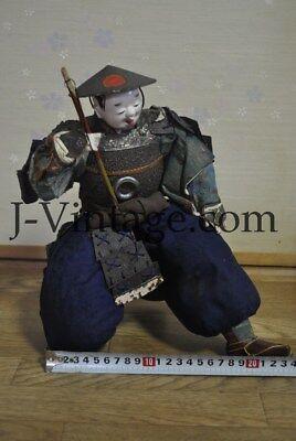 Antique Japanese Happy SAMURAI Doll with Armor YOROI KABUTO Helmet 2